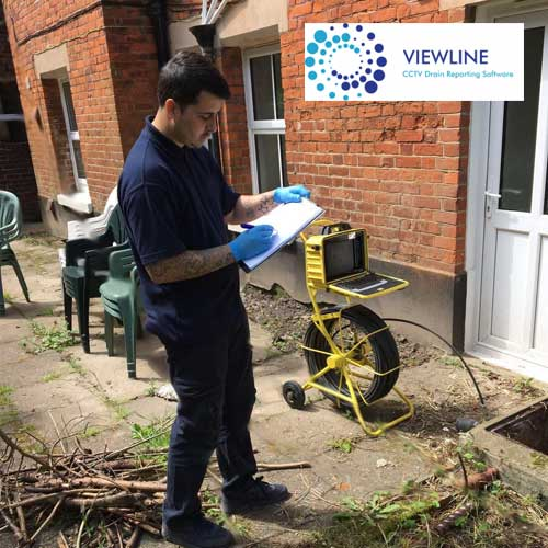Blast Away Staff Member With Clipboard Filling Out CCtv Drain Survey Form